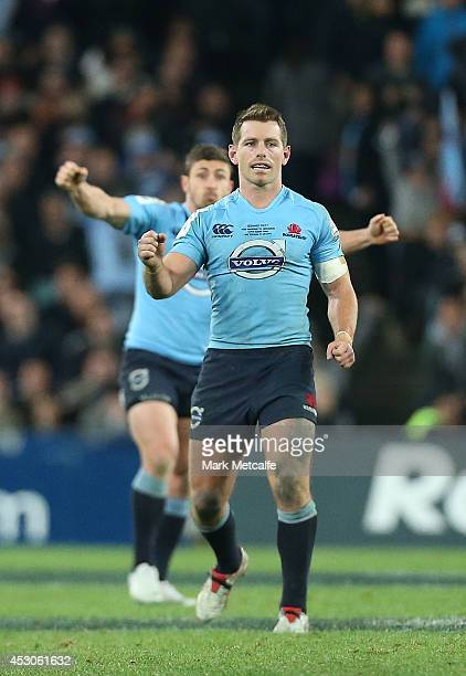 Bernard Foley of the Waratahs celebrates kicking the winning penalty during the Super Rugby Grand Final match between the Waratahs and the Crusaders...
