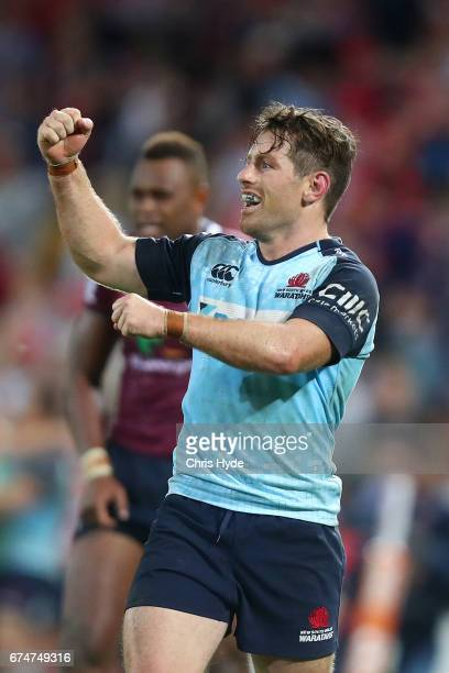 Bernard Foley of the Waratahs celebrates winning the round 10 Super Rugby match between the Reds and the Waratahs at Suncorp Stadium on April 29 2017...