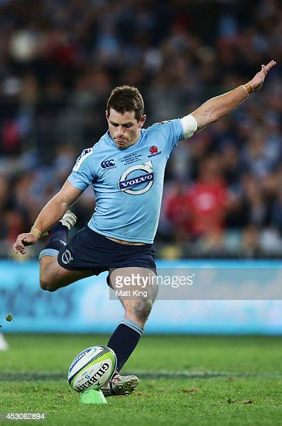Bernard Foley of the Waratahs kicks the winning penalty goal during the Super Rugby Grand Final match between the Waratahs and the Crusaders at ANZ...