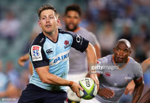Bernard Foley of the Waratahs passes during the round nine Super Rugby match between the Waratahs and the Kings at Allianz Stadium on April 21 2017...