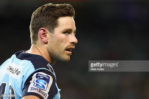 Bernard Foley of the Waratahs watches on during the round 14 Super Rugby match between the Waratahs and the Chiefs at Allianz Stadium on May 27 2016...