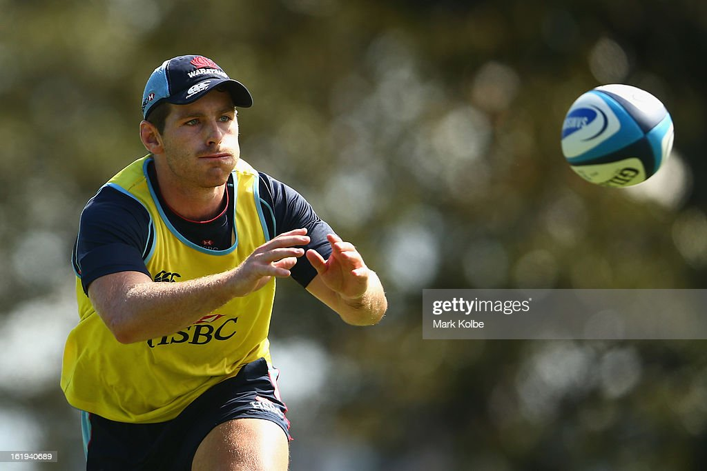 Bernard Foley prepares to catch a pass during a Waratahs Super Rugby training session at Victoria Barracks on February 18, 2013 in Sydney, Australia.