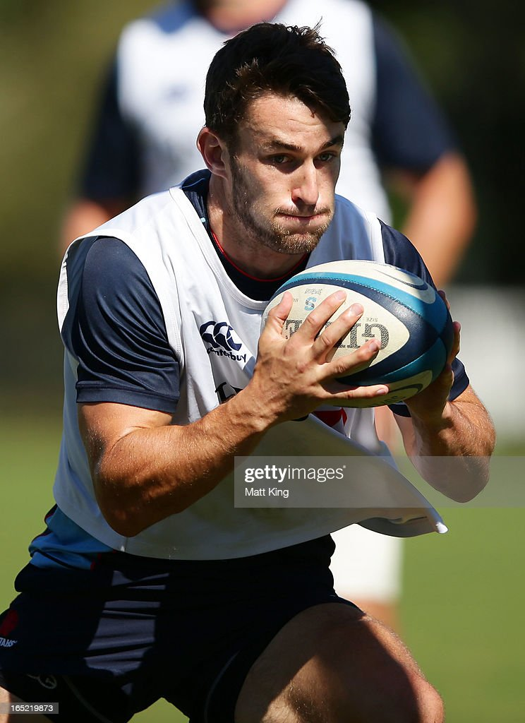 Bernard Foley runs with the ball during a Waratahs Super Rugby training session at Moore Park on April 2, 2013 in Sydney, Australia.