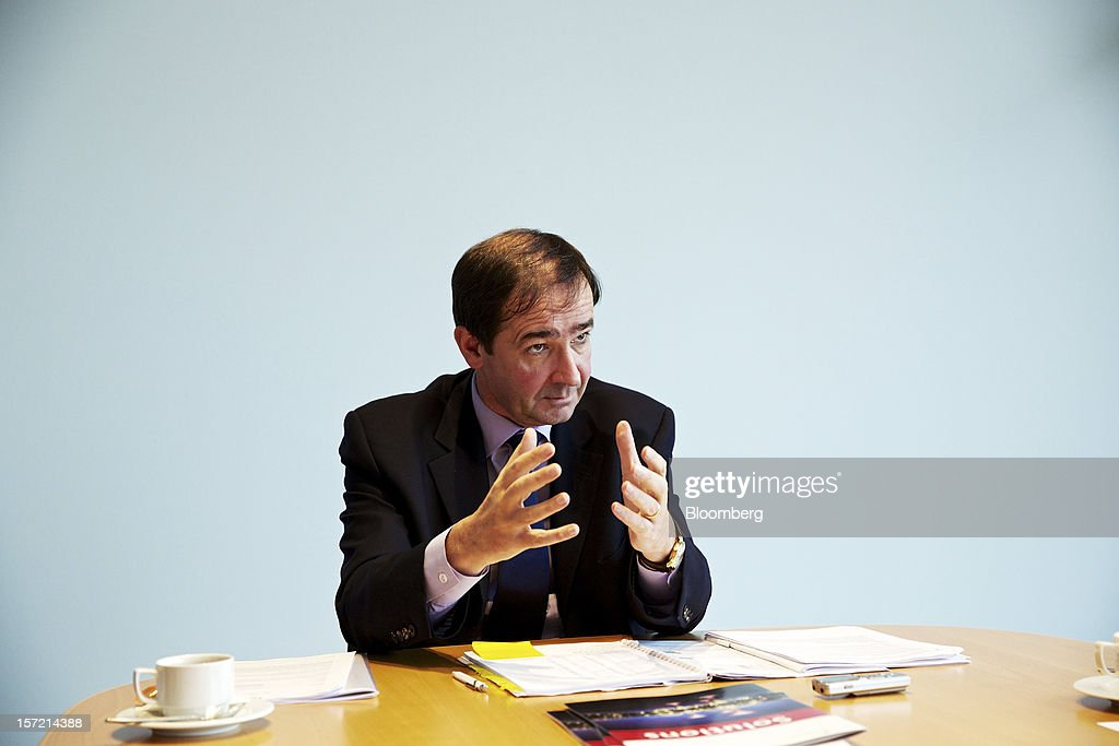 Bernard Fontana, chief executive officer of Holcim Ltd., gestures during an interview at the company's offices in Zurich, Switzerland, on Thursday, Nov. 29, 2012. Holcim Ltd., the world's largest cement maker, is considering disposals as Fontana deals with a greater-than-expected slowdown in Europe. Photographer: Gianluca Colla/Bloomberg via Getty Images