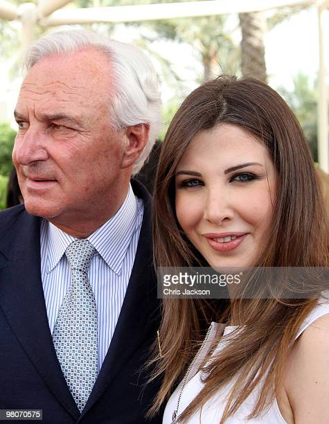 Bernard Fornas and Lebanese Singer and Unicef ambassadeur Nancy Ajram attends the Cartier International Dubai Polo Challenge at the Palm Desert...