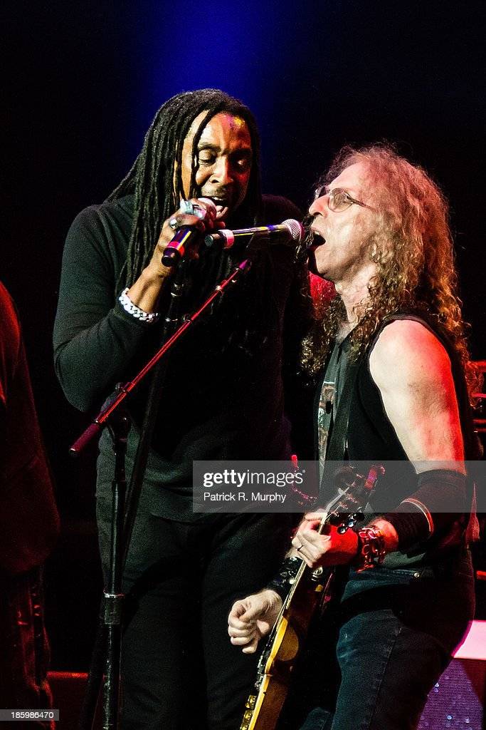 Bernard Fowler and Waddy Wachtel perform at the 18th annual Music Masters series honoring The Rolling Stones at the State Theatre on October 26, 2013 in Cleveland, Ohio.