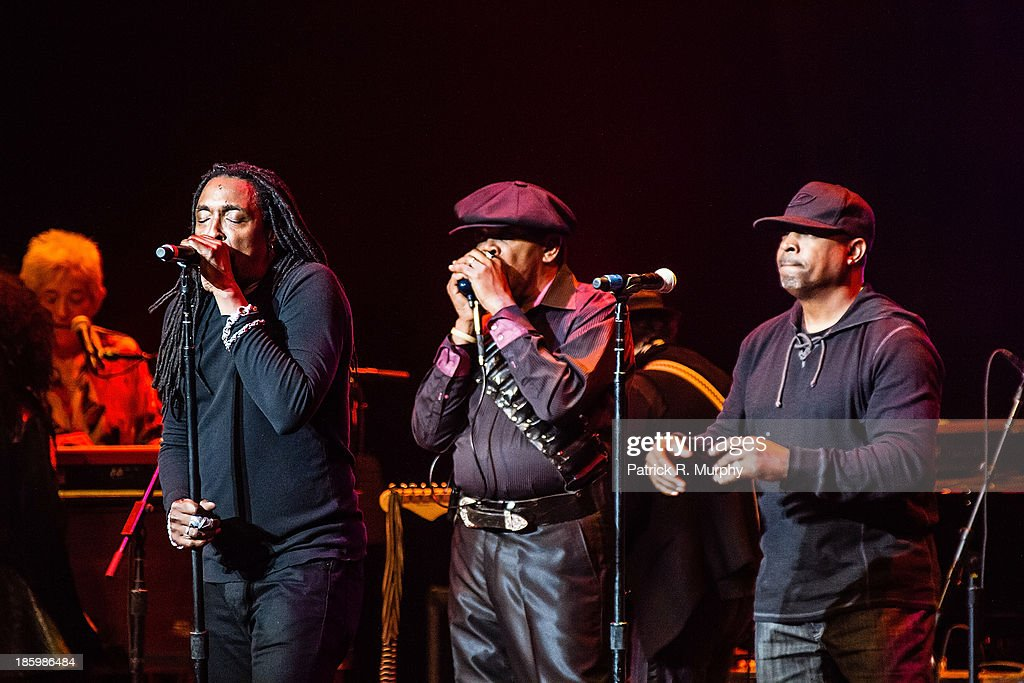Bernard Fowler, Sugar Blue, and <a gi-track='captionPersonalityLinkClicked' href=/galleries/search?phrase=Chuck+D&family=editorial&specificpeople=212935 ng-click='$event.stopPropagation()'>Chuck D</a> perform at the 18th annual Music Masters series honoring The Rolling Stones at the State Theatre on October 26, 2013 in Cleveland, Ohio.