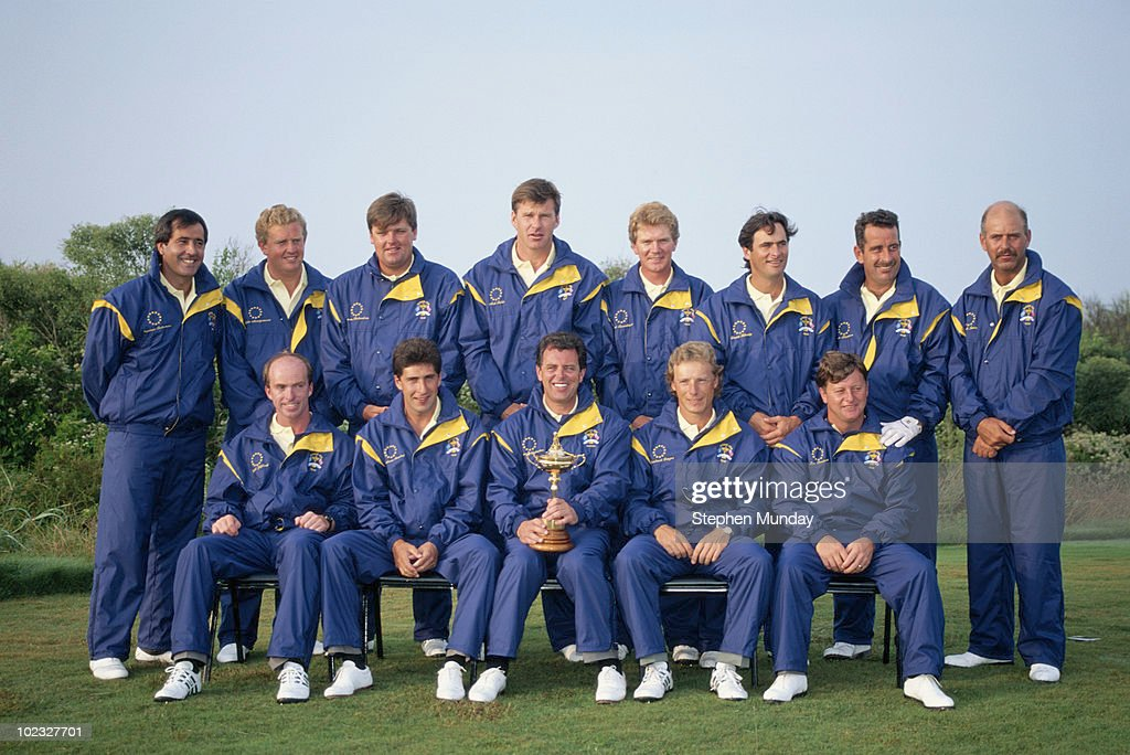 Bernard Gallacher Captain of Europe holds the Ryder Cup Trophy with his team members Nick Faldo David FehertyColin Montgomerie Jose María Olazabal...