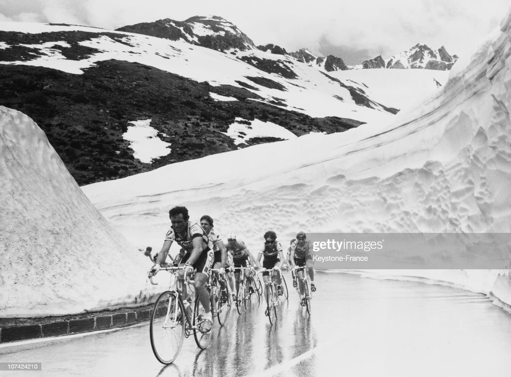 <a gi-track='captionPersonalityLinkClicked' href=/galleries/search?phrase=Bernard+Hinault&family=editorial&specificpeople=749939 ng-click='$event.stopPropagation()'>Bernard Hinault</a> Leading At Saint Gotthard Pass, Tour De Suisse Cycling Race In Switzerland