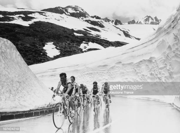 Bernard Hinault Leading At Saint Gotthard Pass Tour De Suisse Cycling Race In Switzerland