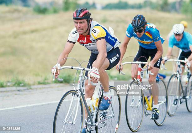 Bernard Hinault of France competes in the Morgul Bismarck stage of the 1985 Coors Classic bicycle race on August 16 1985 near Boulder Colorado