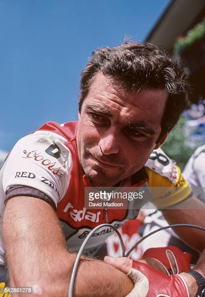 Bernard Hinault of France competes in the Vail Criterium stage of the 1985 Coors Classic bicycle race on August 11 1985 in Vail Colorado