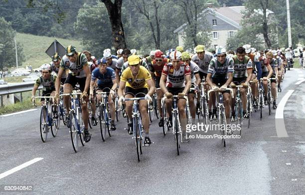 Bernard Hinault of France leads the peloton enroute to winning the Tour de France circa 1981