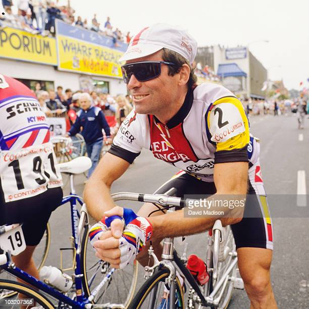 Bernard Hinault waits for the start of the San Francisco stage of the Coors Classic bicycle race in August 1986 in San Francisco California