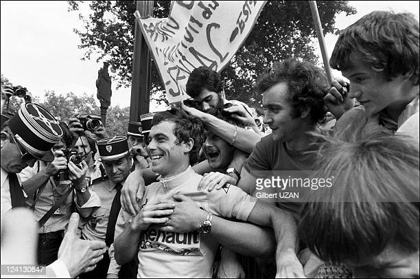 Bernard Hinault wins 75th Tour De France in Paris France on July 22 1978 Bernard Hinault and spectators