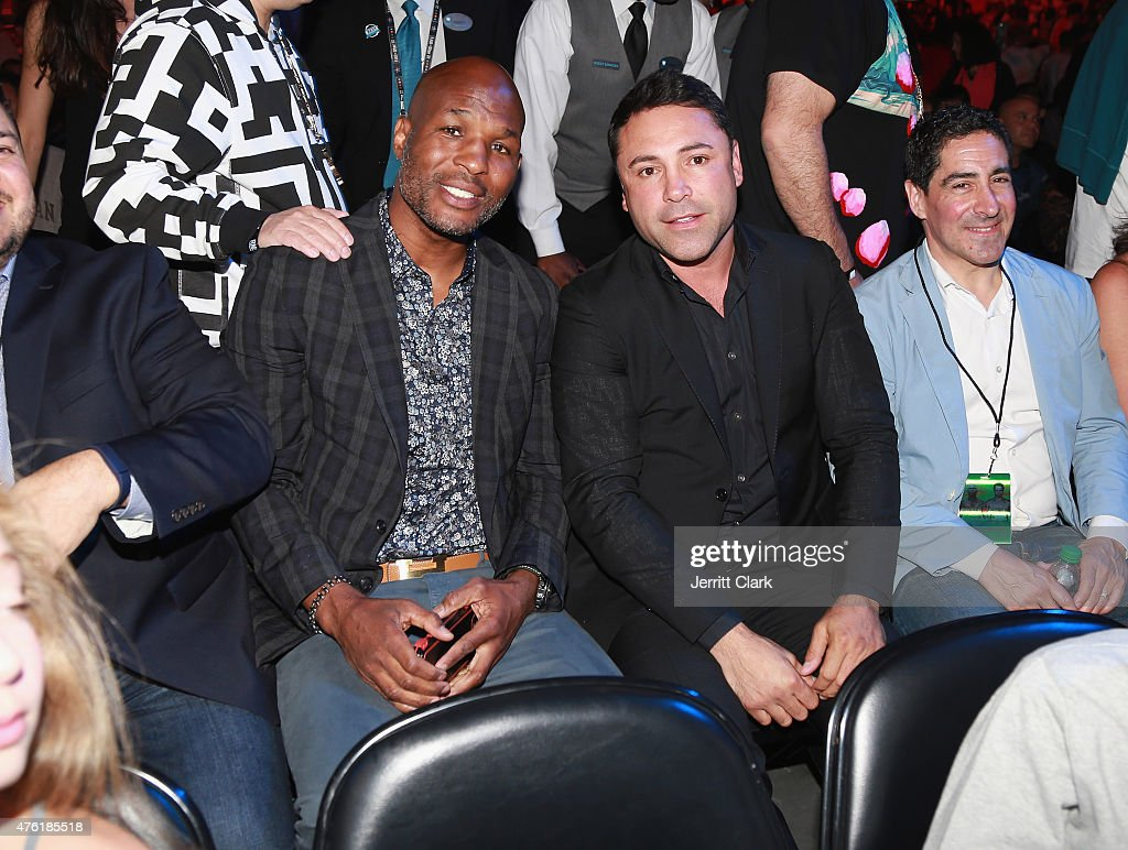 <a gi-track='captionPersonalityLinkClicked' href=/galleries/search?phrase=Bernard+Hopkins&family=editorial&specificpeople=171200 ng-click='$event.stopPropagation()'>Bernard Hopkins</a> and <a gi-track='captionPersonalityLinkClicked' href=/galleries/search?phrase=Oscar+De+La+Hoya&family=editorial&specificpeople=171753 ng-click='$event.stopPropagation()'>Oscar De La Hoya</a> attend the Roc Nation Sports Miguel Cotto Vs Daniel Geale Fight at Barclays Center on June 6, 2015 in the Brooklyn borough of New York City.