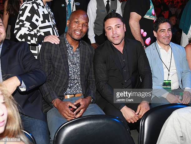 Bernard Hopkins and Oscar De La Hoya attend the Roc Nation Sports Miguel Cotto Vs Daniel Geale Fight at Barclays Center on June 6 2015 in the...