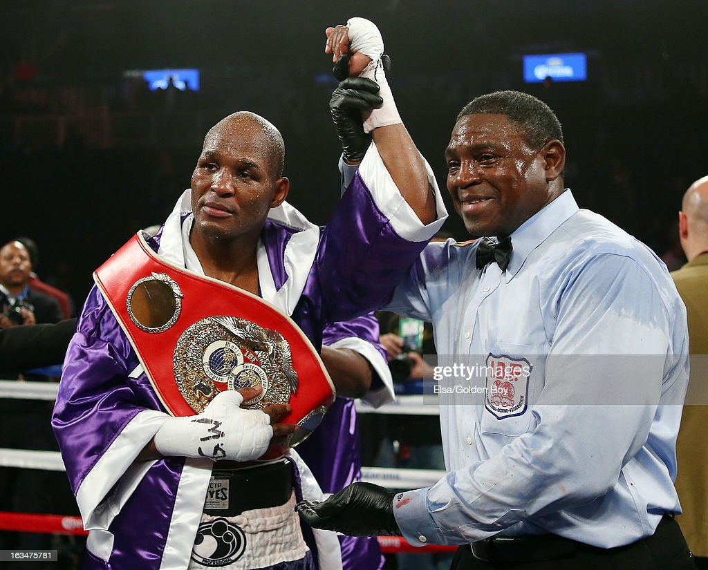 <a gi-track='captionPersonalityLinkClicked' href=/galleries/search?phrase=Bernard+Hopkins&family=editorial&specificpeople=171200 ng-click='$event.stopPropagation()'>Bernard Hopkins</a> is declared the winner over Tavoris Cloud during the IBF Light Heavyweight Title fight on March 9, 2013 at Barclays Center in the Brooklyn borough of New York City.