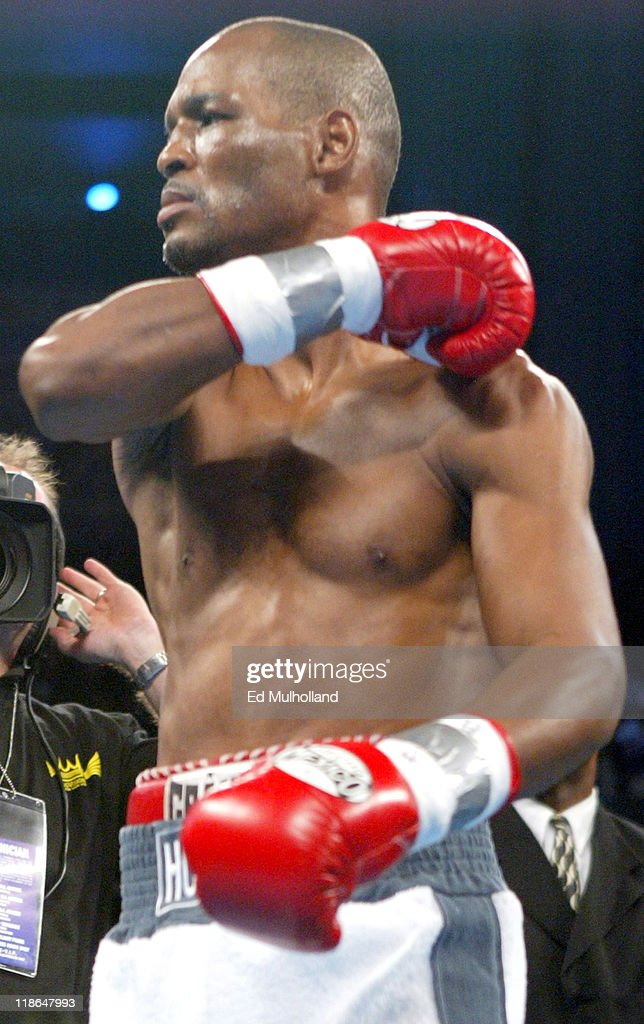 <a gi-track='captionPersonalityLinkClicked' href=/galleries/search?phrase=Bernard+Hopkins&family=editorial&specificpeople=171200 ng-click='$event.stopPropagation()'>Bernard Hopkins</a> makes a throat slash gesture before his middleweight title defense against William Joppy. Hopkins retained his titles with a unanimous decision win at Boardwalk Hall in Atlantic City, NJ.