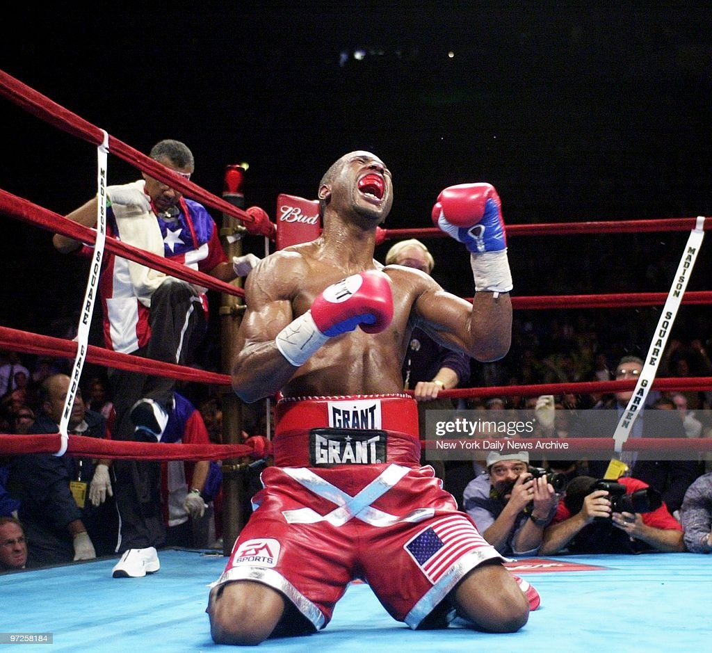 Bernard Hopkins revels in victory after taking the WBA middleweight championship away from Felix Trinidad Jr in their bout at Madison Square Garden...