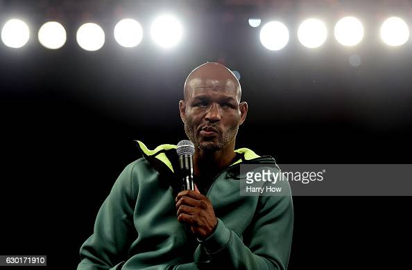 Bernard Hopkins speaks to the media after his career ending bout losing the WBC International Light Heavyweight title to Joe Smith Jr in a ninth...