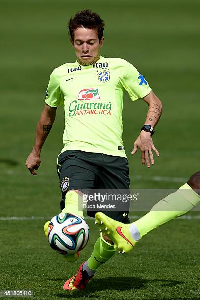 Bernard in action during a training session of the Brazilian national football team at the squad's Granja Comary training complex on July 07 2014 in...
