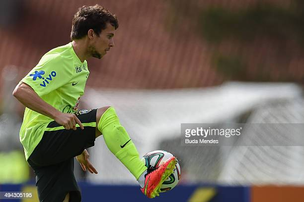 Bernard in action during a training session of the Brazilian national football team at the squad's Granja Comary training complex in Teresopolis 90...