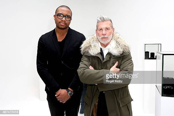 Bernard James and Nick Wooster attend the Dreu Bernard James presentation during MercedesBenz Fashion Week Fall 2014 at Drift Studios on February 6...