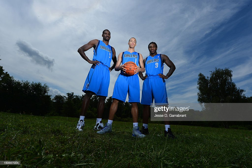 Bernard James #5, Jared Cunningham #1 and Jae Crowder #9 of hte Dallas Mavericks poses for a portrait during the 2012 NBA rookie photo shoot on August 21, 2012 at the MSG Training Facility in Tarrytown, New York.