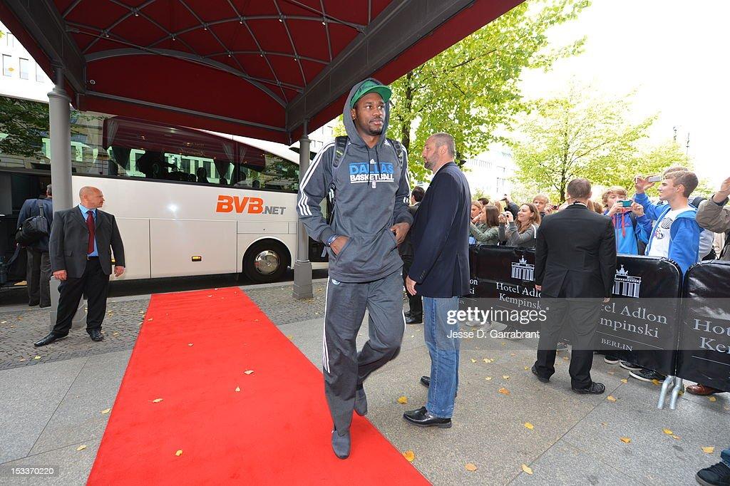Bernard James of the Dallas Mavericks arrives during NBA Europe Live 2012 on October 4, 2012 in Berlin, Germany.