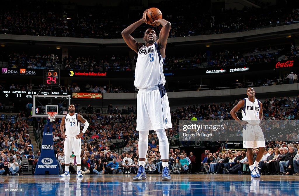 <a gi-track='captionPersonalityLinkClicked' href=/galleries/search?phrase=Bernard+James&family=editorial&specificpeople=7387529 ng-click='$event.stopPropagation()'>Bernard James</a> #5 of the Dallas Mavericks attempts a foul shot against the Orlando Magic on February 20, 2013 at the American Airlines Center in Dallas, Texas.