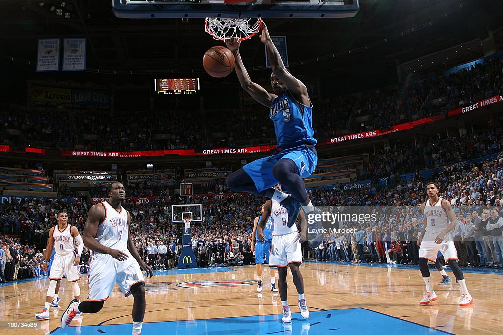Bernard James #5 of the Dallas Mavericks dunks against the Oklahoma City Thunder on February 4, 2013 at the Chesapeake Energy Arena in Oklahoma City, Oklahoma.