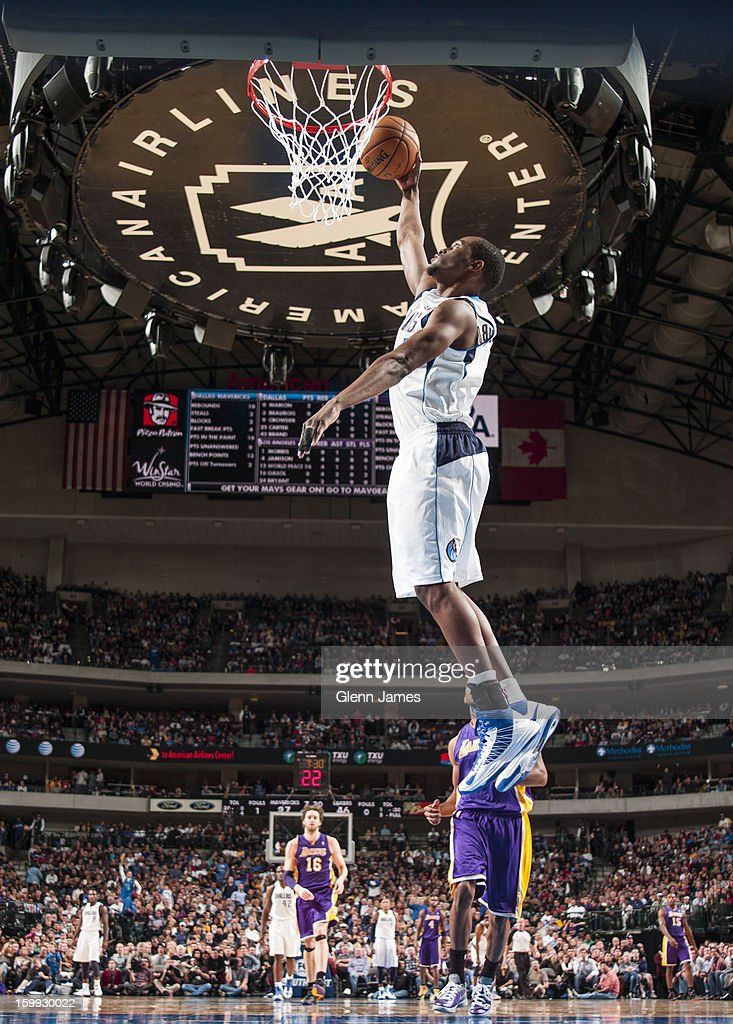 Bernard James #5 of the Dallas Mavericks dunks the ball against the Los Angeles Lakers on November 24, 2012 at the American Airlines Center in Dallas, Texas.