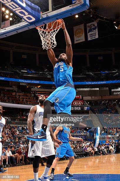 Bernard James of the Dallas Mavericks goes up for a dunk against the Orlando Magic on October 24 2014 at Amway Center in Orlando Florida NOTE TO USER...