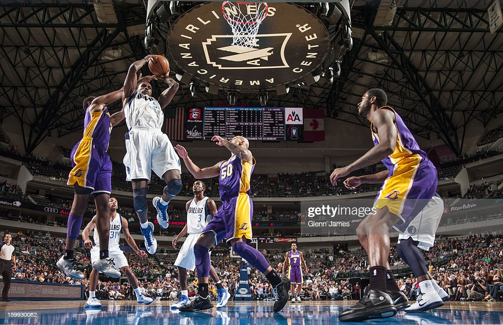 <a gi-track='captionPersonalityLinkClicked' href=/galleries/search?phrase=Bernard+James&family=editorial&specificpeople=7387529 ng-click='$event.stopPropagation()'>Bernard James</a> #5 of the Dallas Mavericks grabs a rebound against the Los Angeles Lakers on November 24, 2012 at the American Airlines Center in Dallas, Texas.