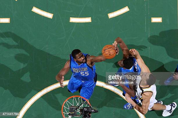 Bernard James of the Dallas Mavericks grabs a rebound against the Utah Jazz at EnergySolutions Arena on April 13 2015 in Salt Lake City Utah NOTE TO...