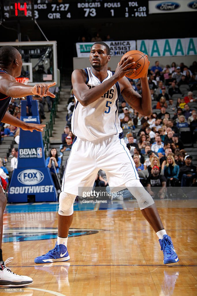 <a gi-track='captionPersonalityLinkClicked' href=/galleries/search?phrase=Bernard+James&family=editorial&specificpeople=7387529 ng-click='$event.stopPropagation()'>Bernard James</a> #5 of the Dallas Mavericks looks to pass against the Charlotte Bobcats on October 26, 2012 at the American Airlines Center in Dallas, Texas.