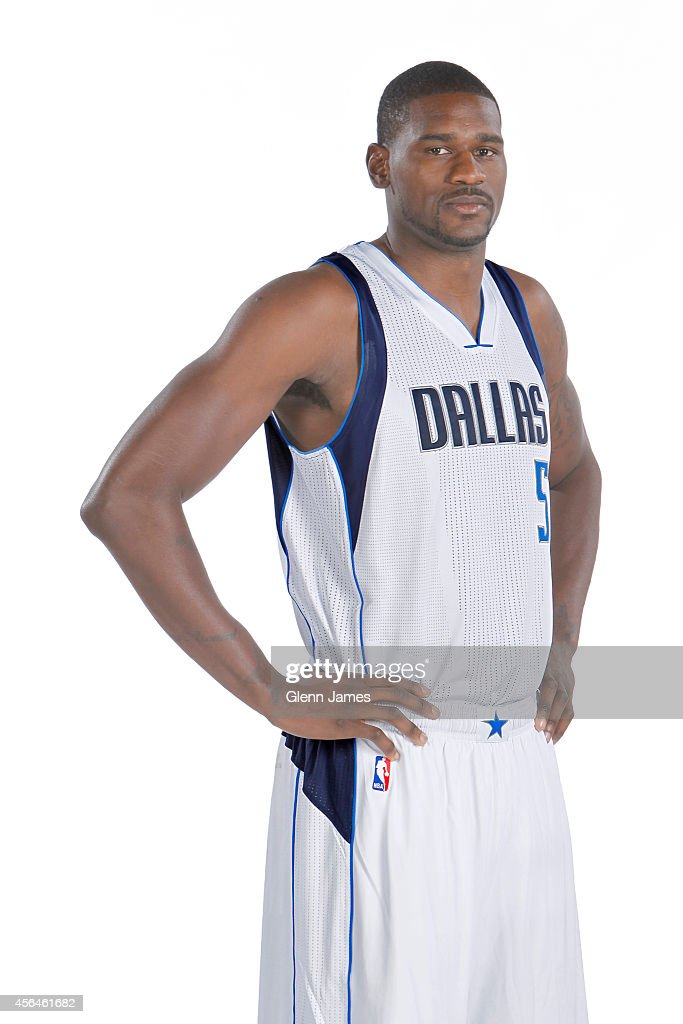<a gi-track='captionPersonalityLinkClicked' href=/galleries/search?phrase=Bernard+James&family=editorial&specificpeople=7387529 ng-click='$event.stopPropagation()'>Bernard James</a> #5 of the Dallas Mavericks poses for a photo during the Dallas Mavericks 2014-2015 Media Day on September 29, 2014 at the American Airlines Center in Dallas, Texas.