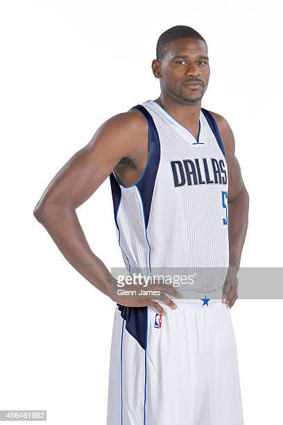 Bernard James of the Dallas Mavericks poses for a photo during the Dallas Mavericks 20142015 Media Day on September 29 2014 at the American Airlines...