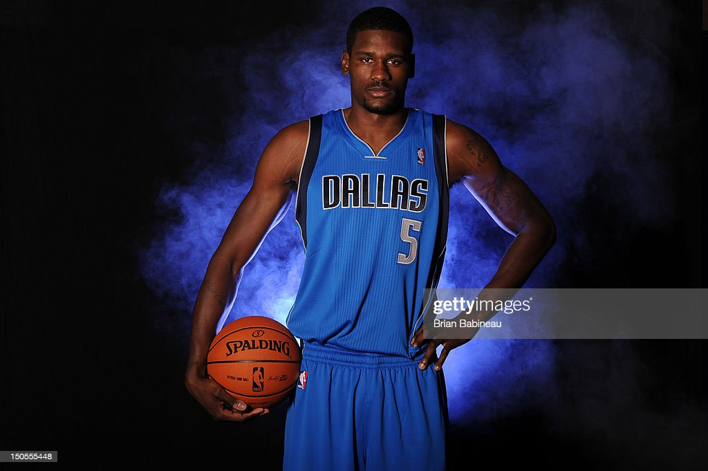 Bernard James #5 of the Dallas Mavericks poses for a portrait during the 2012 NBA rookie photo shoot on August 21, 2012 at the MSG Training Facility in Tarrytown, New York.