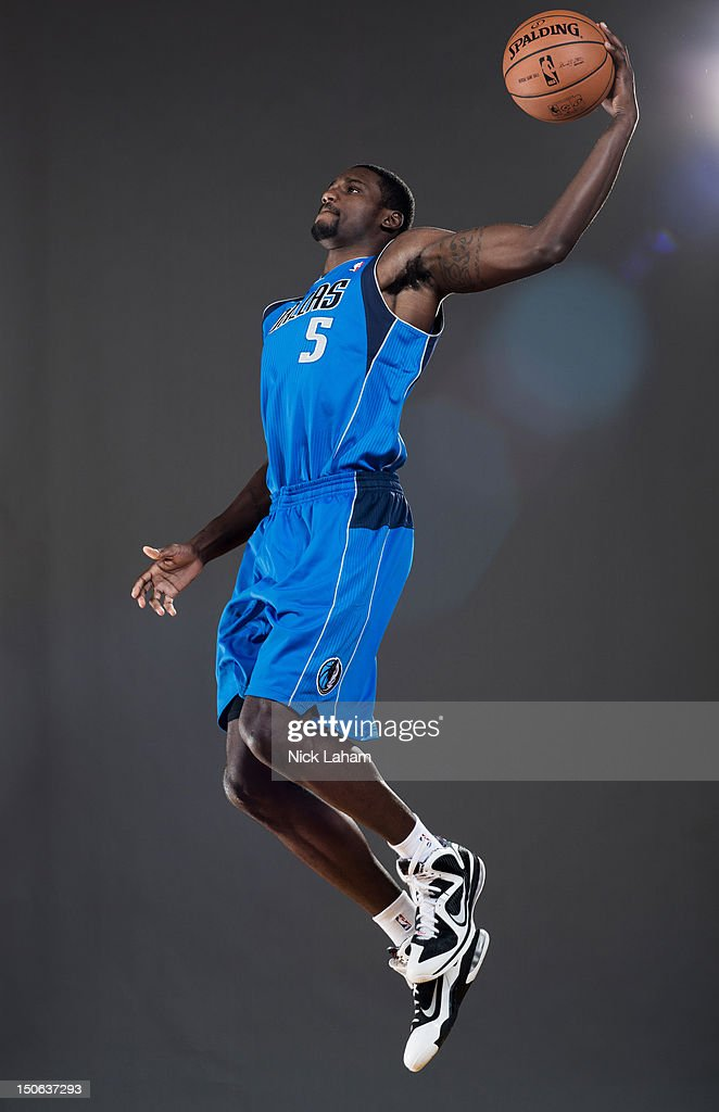 Bernard James #5 of the Dallas Mavericks poses for a portrait during the 2012 NBA Rookie Photo Shoot at the MSG Training Center on August 21, 2012 in Tarrytown, New York.