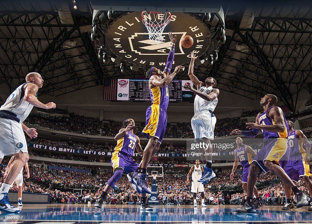 Bernard James #5 of the Dallas Mavericks puts up a shot against the Los Angeles Lakers on November 24, 2012 at the American Airlines Center in Dallas, Texas.
