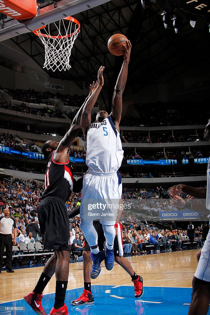 Bernard James #5 of the Dallas Mavericks puts up a shot against the Portland Trail Blazers on February 6, 2013 at the American Airlines Center in Dallas, Texas.