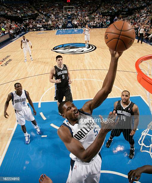 Bernard James of the Dallas Mavericks shoots against the Orlando Magic on February 20 2013 at the American Airlines Center in Dallas Texas NOTE TO...