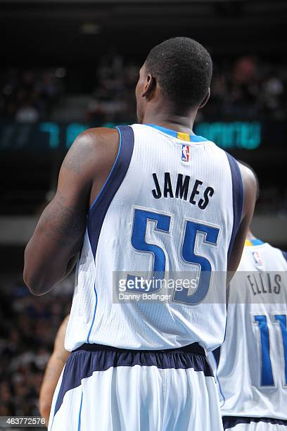Bernard James of the Dallas Mavericks stands on the court during a game against the Utah Jazz on February 11 2015 at the American Airlines Center in...