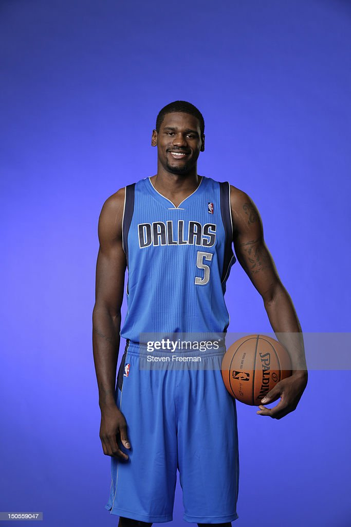 Bernard James #5 of the Dallas Maverics poses for a portrait during the 2012 NBA rookie photo shoot on August 21, 2012 at the MSG Training Facility in Tarrytown, New York.