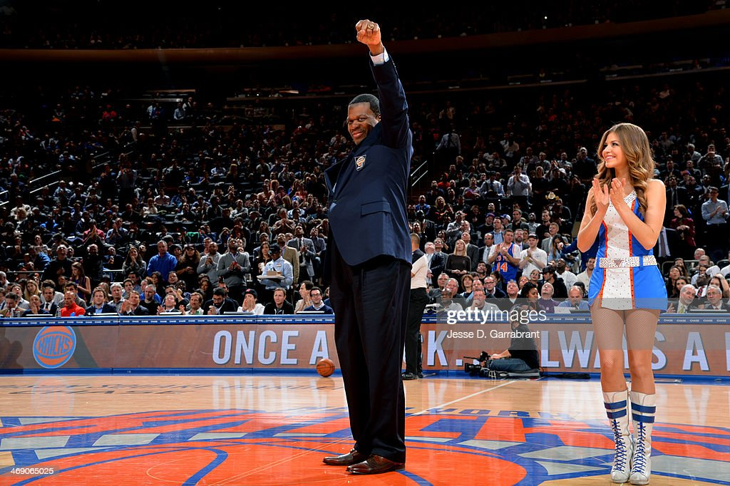 Bernard King gets introduced before the game between the Sacramento Kings and New York Knicks on February 12, 2014 at Madison Square Garden in New York City, New York.