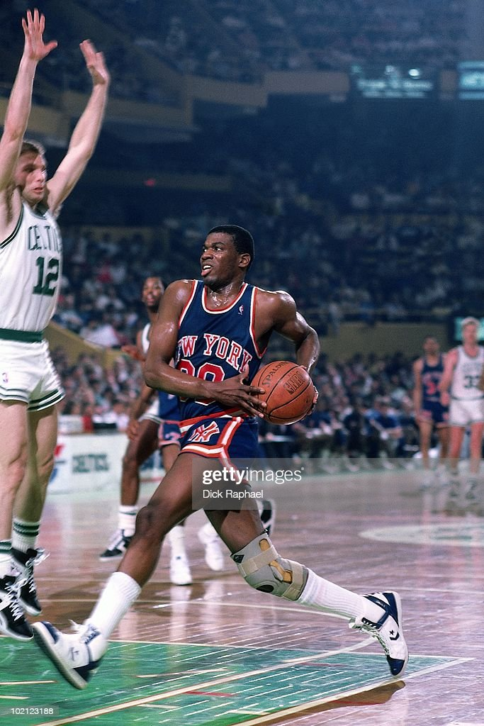 <a gi-track='captionPersonalityLinkClicked' href=/galleries/search?phrase=Bernard+King&family=editorial&specificpeople=214248 ng-click='$event.stopPropagation()'>Bernard King</a> #30 of the New York Knicks drives to the basket against the Boston Celtics during a game played in 1987 at the Boston Garden in Boston, Massachusetts.