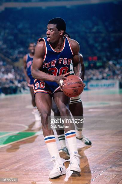Bernard King of the New York Knicks looks to make a move against the Boston Celtics during a game played in 1984 at the Boston Garden in Boston...