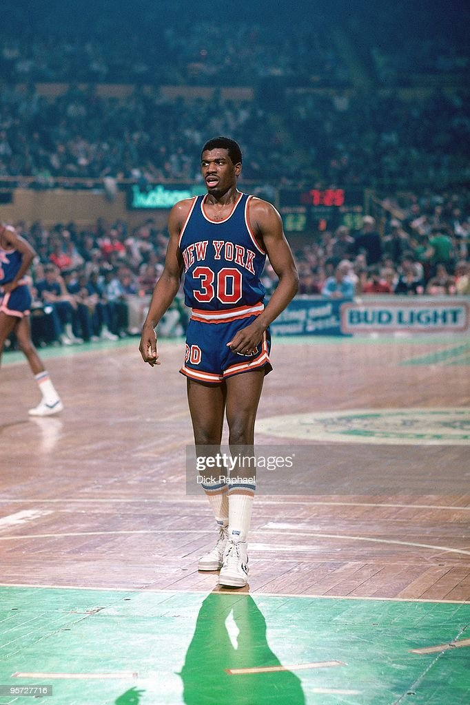 <a gi-track='captionPersonalityLinkClicked' href=/galleries/search?phrase=Bernard+King&family=editorial&specificpeople=214248 ng-click='$event.stopPropagation()'>Bernard King</a> #30 of the New York Knicks stands against the Boston Celtics during a game played in 1984 at the Boston Garden in Boston, Massachusetts.